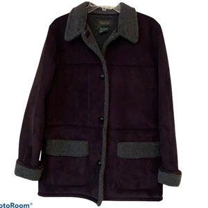 R.L. Lauren Pea Coat Black Faux Suede & Shearling